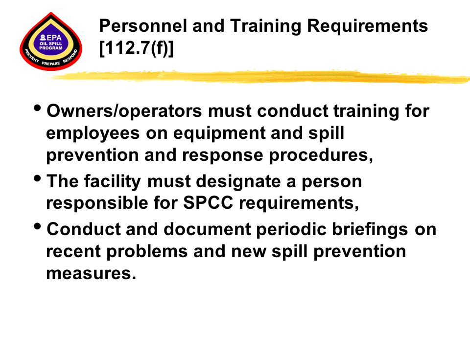 Personnel and Training Requirements [112.7(f)]